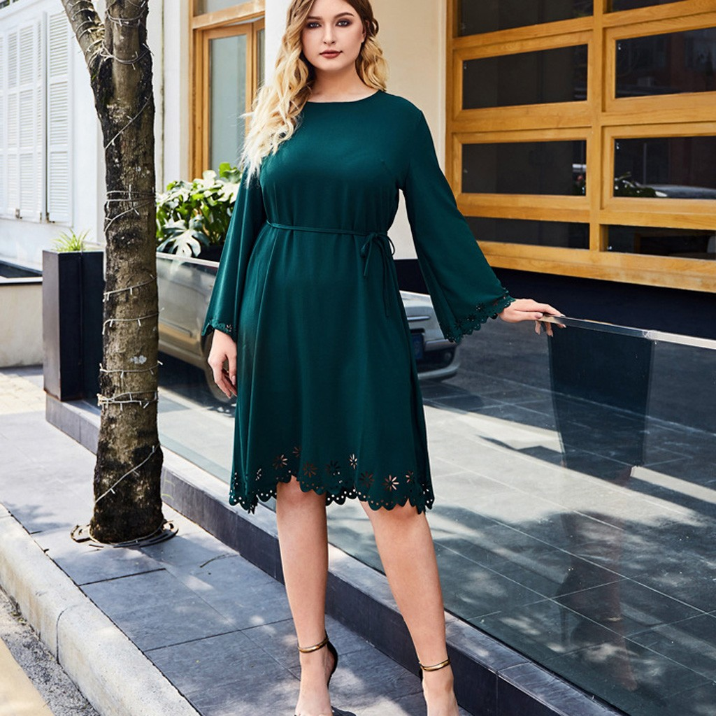 Womens Fashion Plus Size Casual Solid Sleeve High Waist Dress motion fashion Leisure Solid color style Work clothes Dropshipping