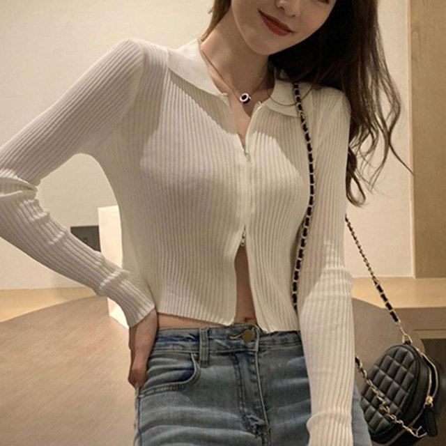 Jocoo Jolee Fashion Black Ribbed Zip-up Cardigans Casual Turn-down Collar Long Sleeve Autumn Sweater Sexy Cropped Tops Knitting 2