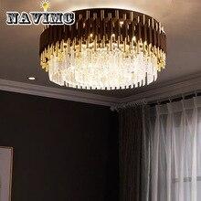 Современная черная круглая K9 Хрустальная Потолочная люстра из нержавеющей стали свет для гостиной декоративное освещение приспособление