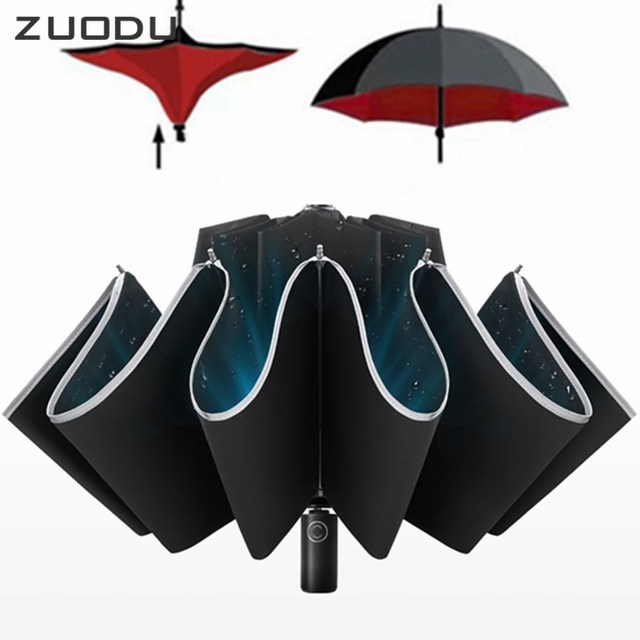 ZUODU Automatic Reverse Umbrella Men Led Luminous Windproof Folding Business Strong Umbrella Rain Men Car High Quality Umbrellas 4