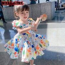Платье принцессы с пышными рукавами для маленьких девочек, одежда для начинающих ходить детей, ажурное платье-пачка с открытой спиной и обо...