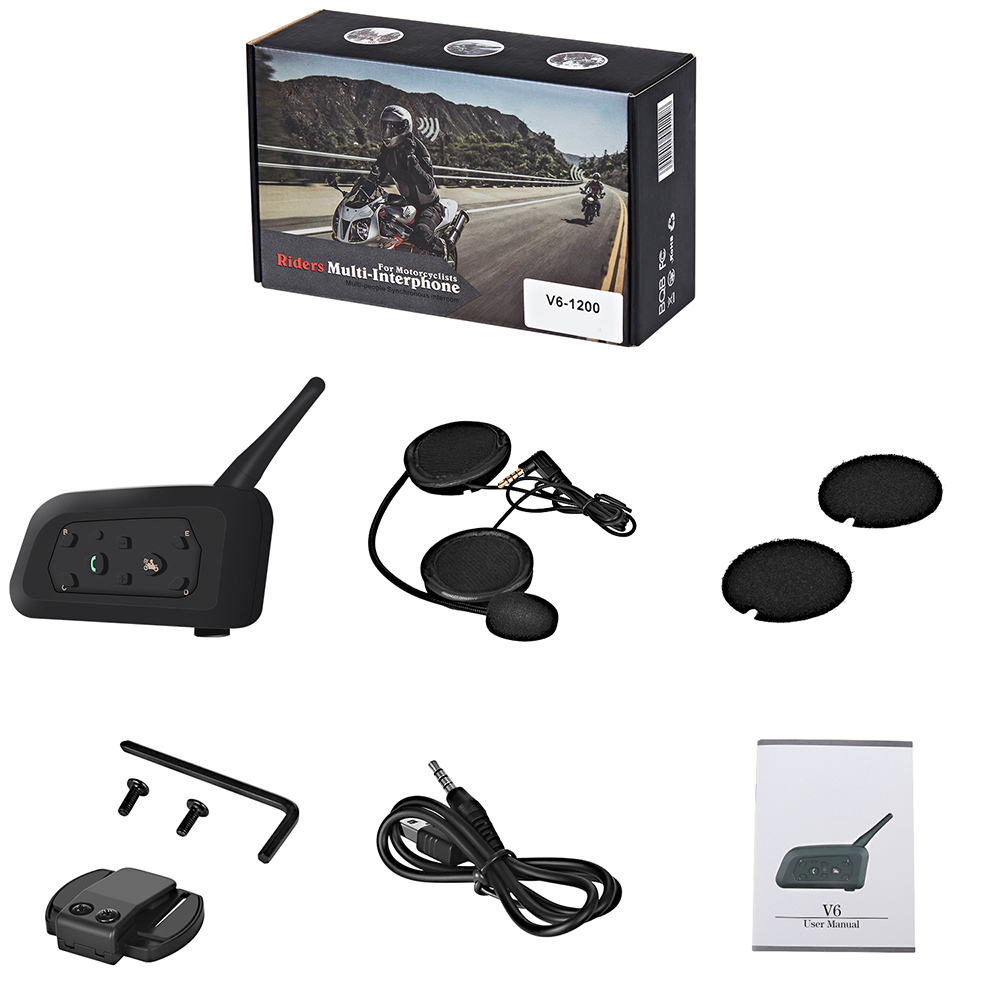 1 Set Motorcycle Helmet Bluetooth Headset Intercom 1200M Communica Wireless Intercomunicador BT Interphone Hot Sale