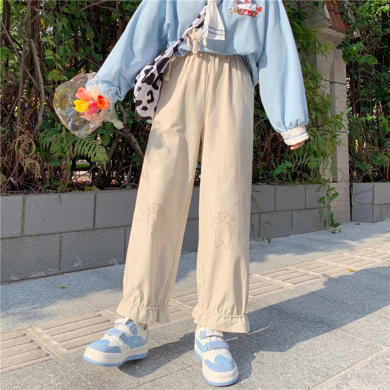 Pantalones Japoneses Kawaii Para Chica Pantalon Suave Holgado Con Bordado De Oso De Dibujos Animados Cintura Elastica Informal Con Volantes Liso Pantalones Y Pantalones Capri Aliexpress