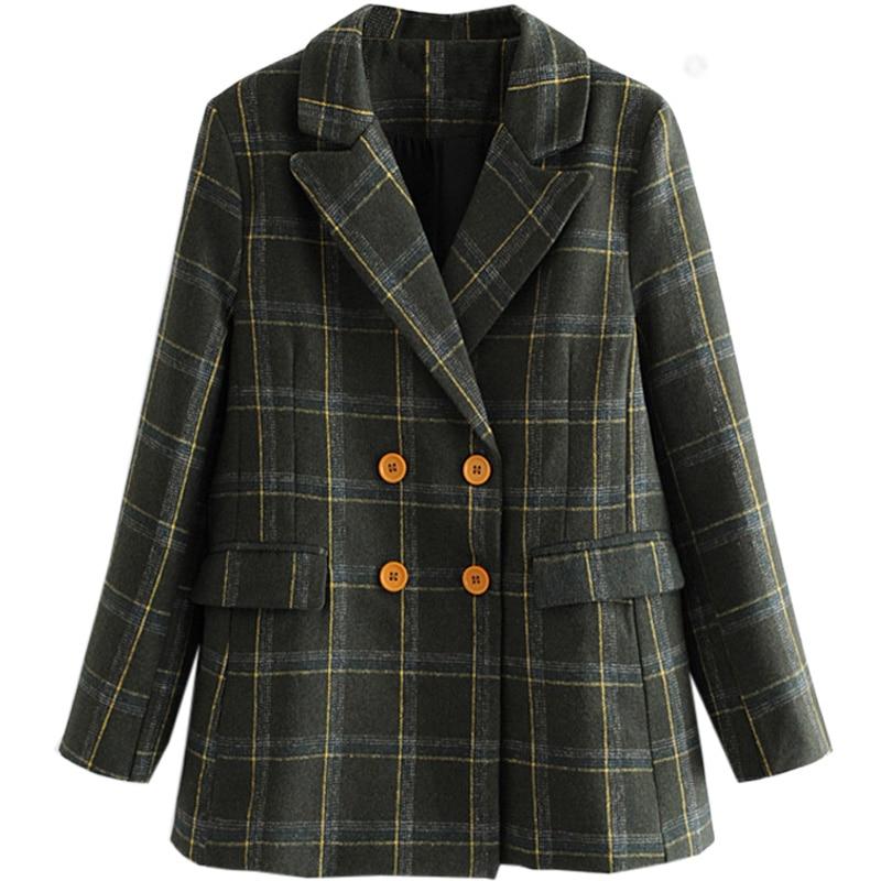 Vintage Plaid Long Winter Blazer Women Plaid Blazers Femme Double Breasted Blazer Plus Size Elegant Jacket Oversized Suit II50XZ