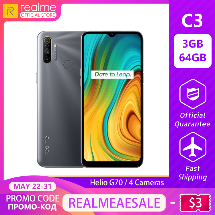 Realme C3 Global Version 3GB RAM 64GB ROM Pro Mobile Phone MTK Helio G70 CPU 12MP Camera 6.5