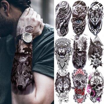 Black Forest Tattoo Sticker For Men Women Children Tiger Wolf Death Skull Temporary Tattoo Fake Henna Skeleton King Animal Tatoo 1