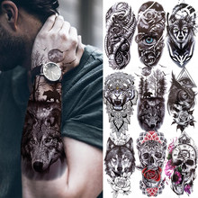 Autocollant de tatouage de forêt noire pour hommes, femmes, enfants, crâne de tigre, loup, mort, tatouage temporaire, faux henné, squelette de roi, Animal