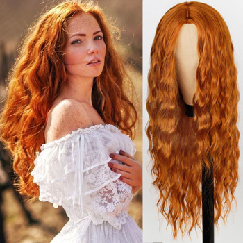 FEELSI Pure Red Black orange Color Long Water Wave Hairstyle Wigs For Women Synthetic Hair High Temperature Fiber Average Size - discount item  32% OFF Synthetic Hair