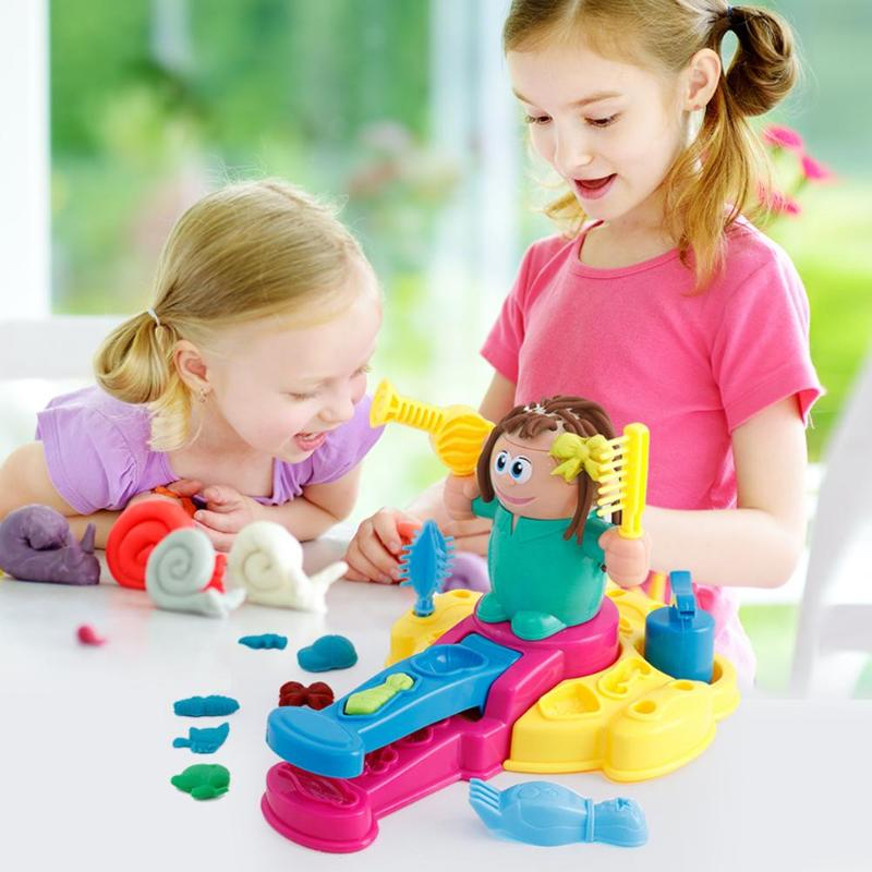 Children Model Clay 3D Barber Toy Set Plasticine Non-Toxic Mold Tool Suit