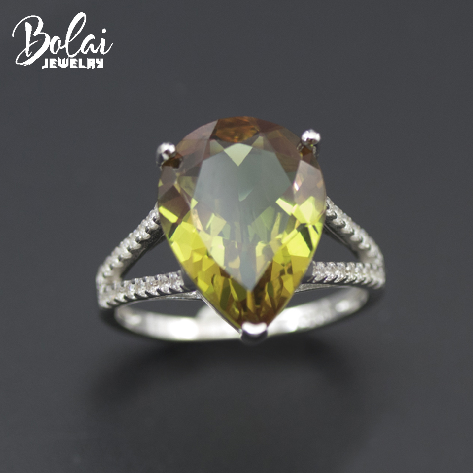 Bolai Sultanit Ring 925 Sterling Silver Color Change Nano Diaspore Pear 16*12mm Gemstone Fine Jewelry Wedding Rings For Women