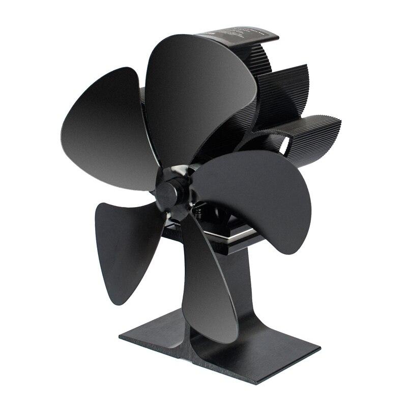 Ev Aletleri'ten Egzoz Fanları'de Soba fanı manyetik termometre 5 bıçak odun sobası fanlar ısı Powered şömine Fan alüminyum için çevre dostu ahşap kütük brülör title=