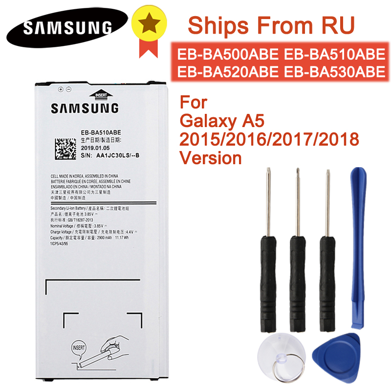 Original Battery EB-BA510ABE EB-BA510ABA For Samsung Galaxy A5 2016 /A5 2015/ 2017/2018 A510F A5100 Authentic Battery 2900mAh