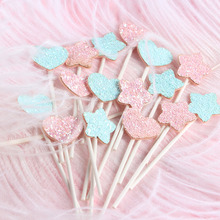 5pcs/lot Pink Blue Birthday Cake Topper Glitter Star Heart Decoration For Baby Shower Kids Wedding Party Supplies