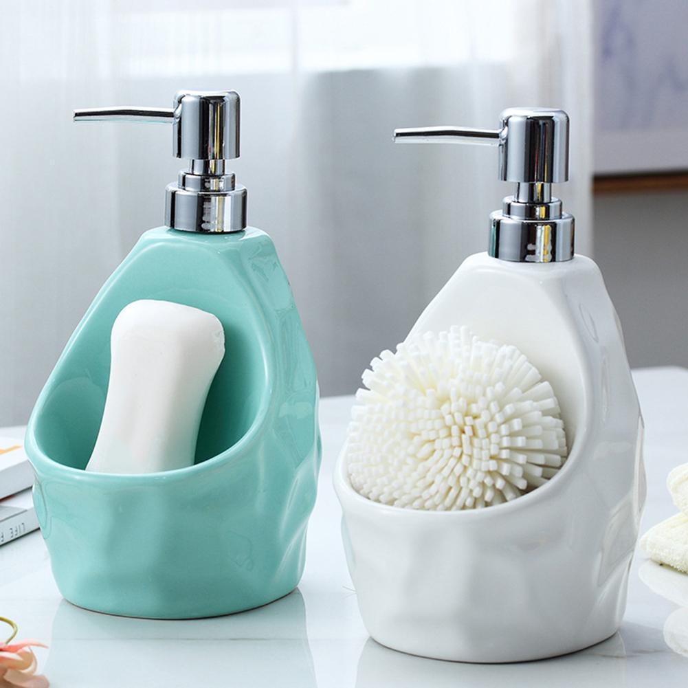 Ceramic Soap Dispenser Dual-use Hand Sanitizer Bottle Detergent Bottl Bathroom Lotion Bottle With Sponge Storage Rack