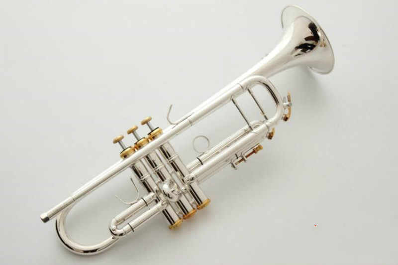 Bach Stradivarius Bbทรัมเป็ตLT197S-99 เงินเครื่องดนตรีใหม่ปากเป่าทรัมเป็ตระดับมืออาชีพ