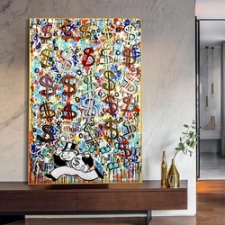 Abstract Dollar Monopoly Man Funny Posters And Prints Graffiti Raining Money Wall Art Canvas Painting For Living Room Decoration
