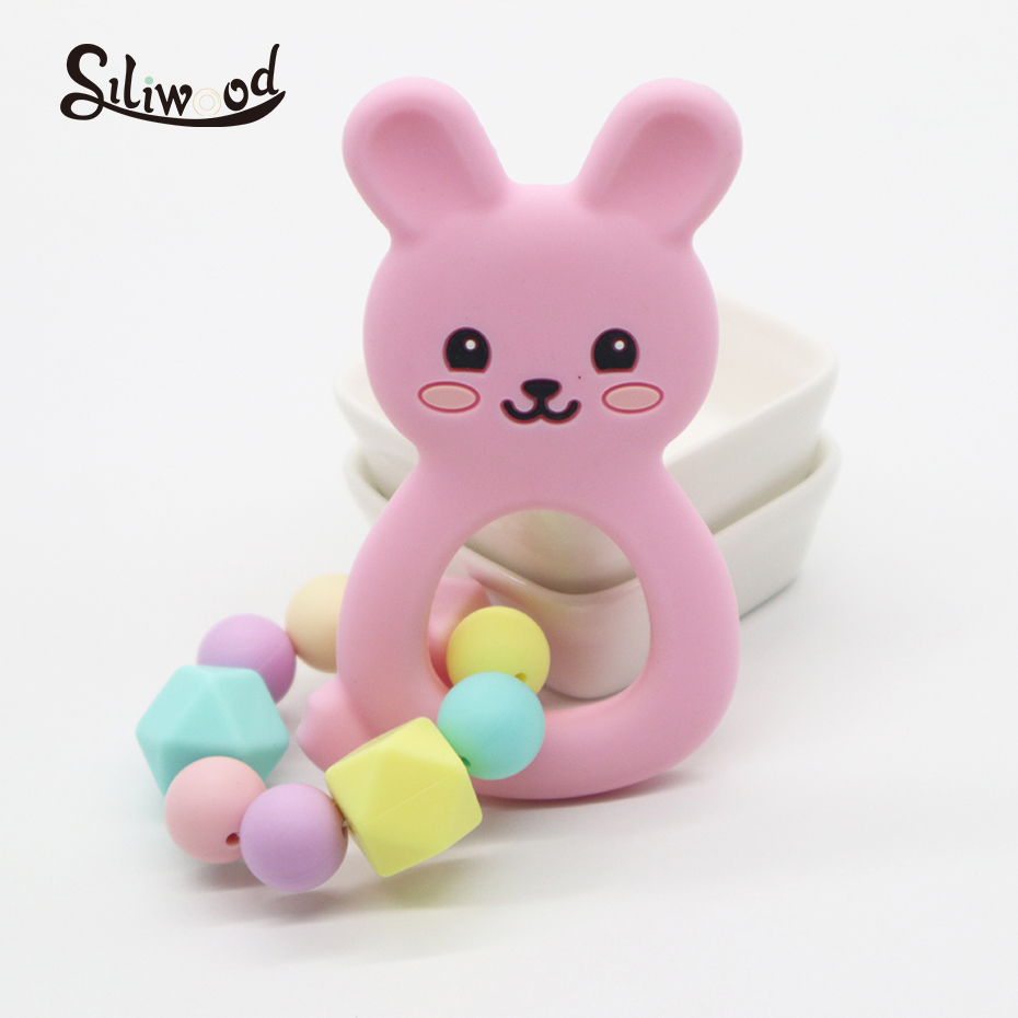 Baby Rattle Teether Baby Teething Toys For Newborns Silicone Beads Rabbit Teether Hexagon Beads 12mm Tiny Rod Baby Crib Rattle