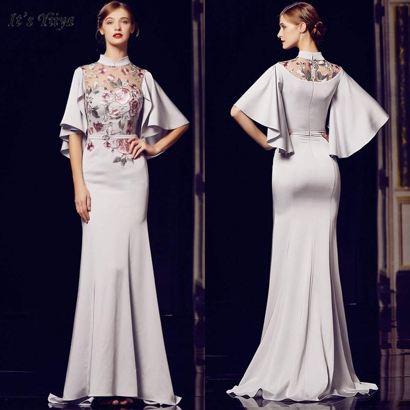 It's Yiiya Evening Dress Short Sleeve High Neck Women Party Dresses Embroidery Mermaid Floor-Length Robe De Soiree V164