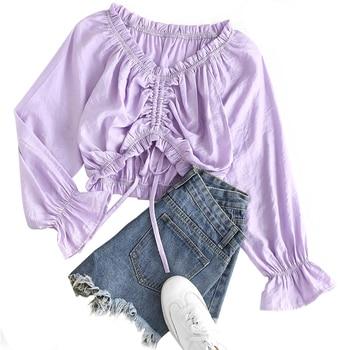 Womens Long Sleeve Shirt Tops Fashion Casual Drawstring Shopping Daily Wear Temperament Hot Sale