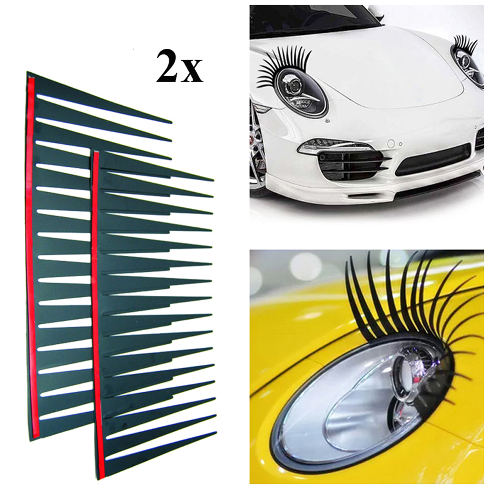 2pcs /set Car Headlight Eyelash Stickers 3D Charming Black False Eyelashes Car Headlight Decoration Funny Decal