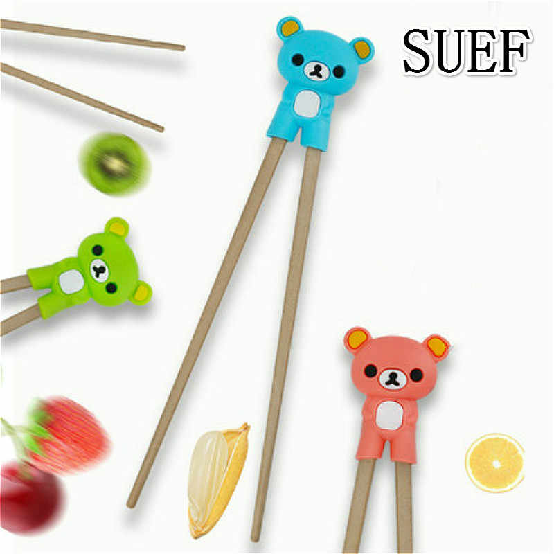 SUEF 1 pair Creative cartoon silica gel children training chopsticks bear silica gel chopsticks set children learning chopsticks