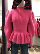 Женский трикотажный свитер с круглым вырезом и рукавами фонариками
