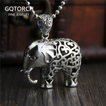 Necklaces & Pendants Elephant Real Pure 925 Sterling Silver Retro Vintage Ethnic Amulets And Talismans Ganesha Charms Colgantes