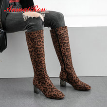 ANMAIRON 2019 Basic Round Toe Square Heel Winter Boots Women Animal Prints Thigh High Boots Knee High Boots Short Plush  34-43