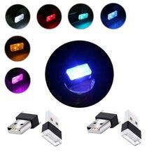 Lampu gaya LED lampu neon lampu persekitaran lampu dalaman lampu hiasan lampu aksesori kereta lampu USB mini 7 warna RGB Party