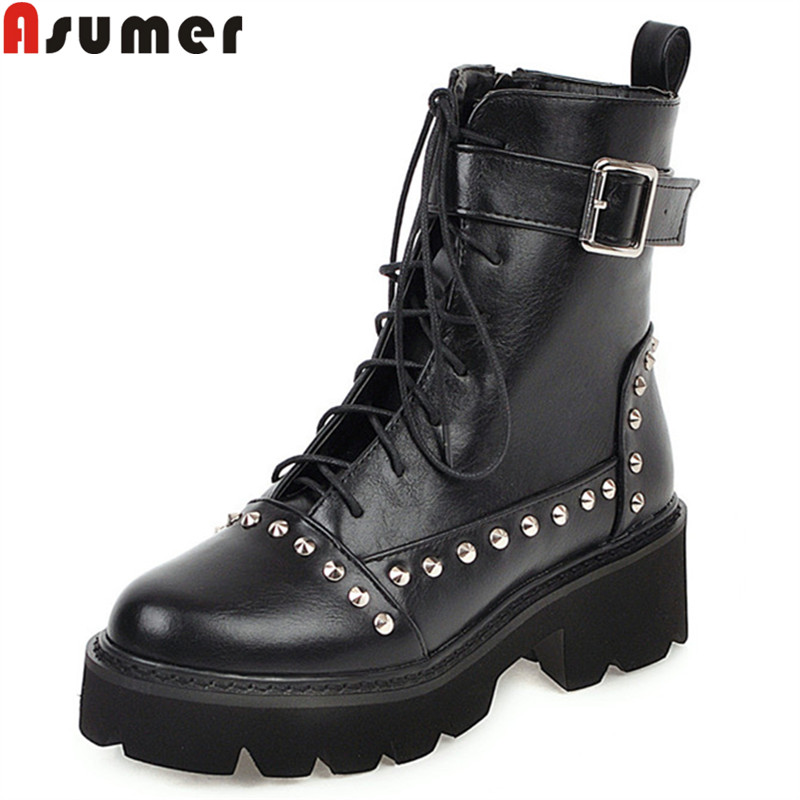 ASUMER Ankle-Boots Platform Rivet Motorcycles Autumn Winter Big-Size Ladies New Classic