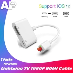 Acespower ekran synchronizacji adapter hdmi dla iPhone iPad ipod touch hd monitor do komputera projektor 1080P cyfrowy kabel do konwersji av w Kable do telefonów komórkowych od Telefony komórkowe i telekomunikacja na