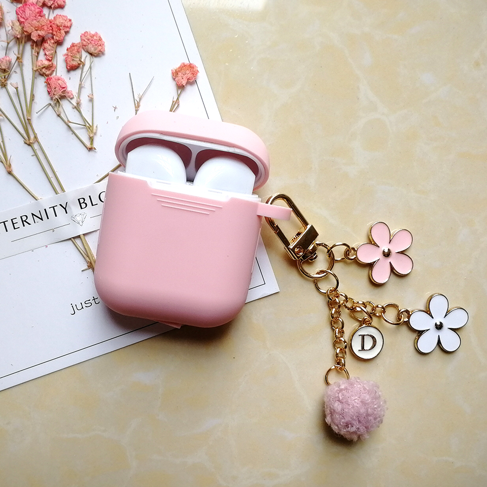 Cute Japanese Luxury Cherry Flower Case For Apple Airpods 1 2 Accessories Bluetooth Earphone Protective Cover Bag Key Ring Strap