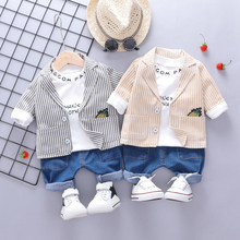 купить New Letter Stripe Print Children's Set Fashion Handsome Top Pants Coat Three-piece Cute Toddler Boy Set 0-3T Baby Boy Clothes по цене 960.03 рублей