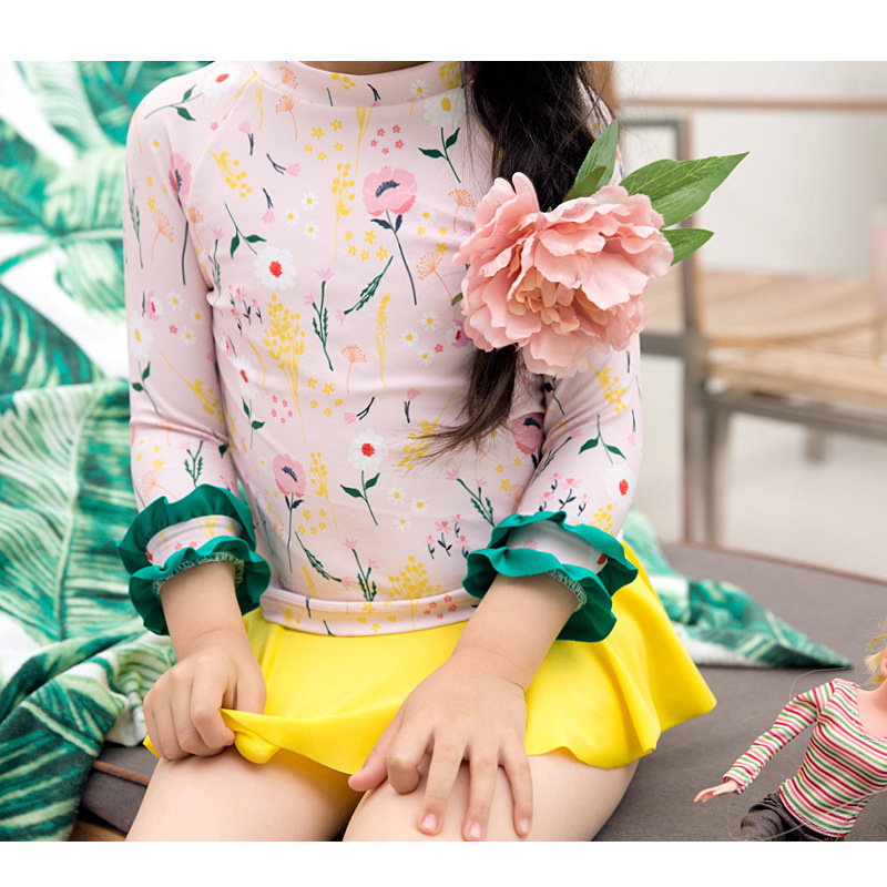 South Korea KID'S Swimwear Girls Fashion Cute Printed Sun-resistant Eight Points Sleeve Split Type Princess Skirt Two-Piece Swim