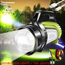 200w portátil holofotes longa vida da bateria holofote lanterna recarregável à prova dwaterproof água tocha lanterna lâmpada de acampamento luz
