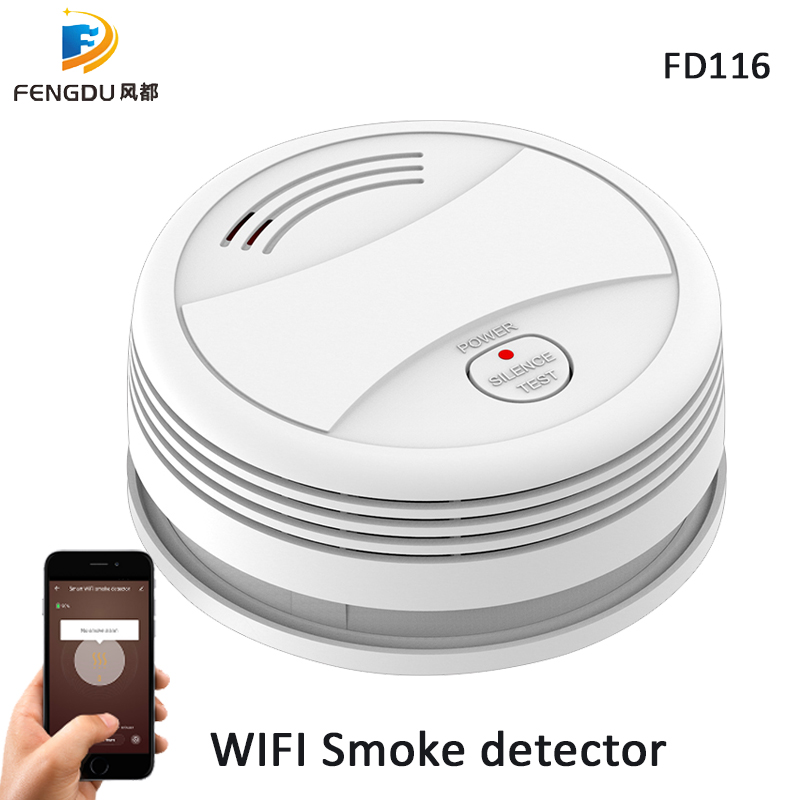 5pcs/Lot Wifi Fire Detector Smoke Alarm Tuya App Phone Control Fire Protection Portable Wifi Rookmelder Smoke Detector