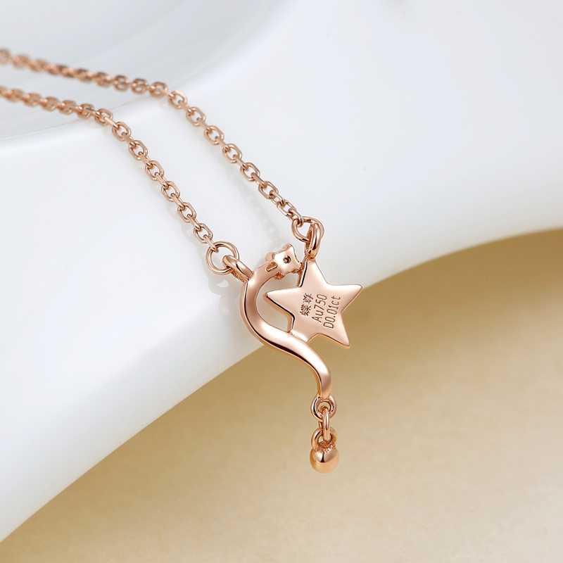 Lucky Star เพชร 18K จริงทองคำ AU750 จี้ Charm สร้อยคอสำหรับของขวัญผู้หญิงผู้หญิงแฟนซีอินเทรนด์เครื่องประดับ Clavicular