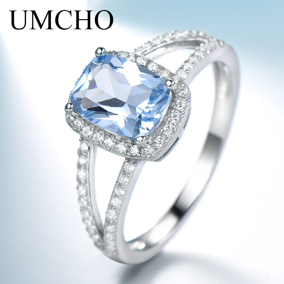 UMCHO Genuine Sterling Silver Rings For Women Engagement Nano Sky Blue Topaz Ring Silver 925 Gemstones Jewelry
