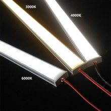12VDC 50 CM 20 LED Kabinet Bar Cahaya 2835 60 120/240 LED Per Meter Datar U Profil LED Keras Strip 2W/6W/9W Diode Tak Terlihat(China)