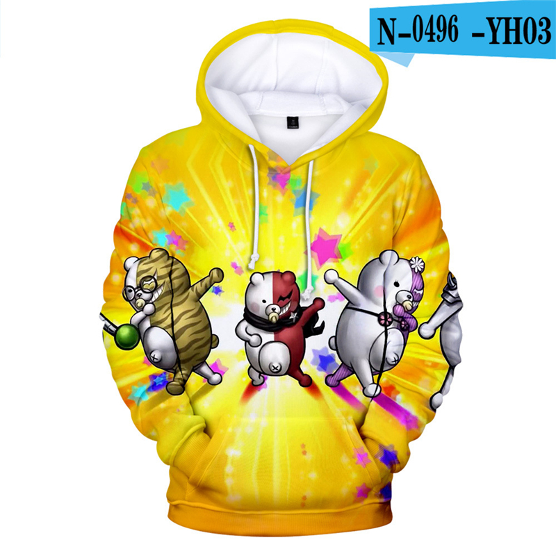 Moletom  Anime Hoodies Danganronpa Hoodie Sweatshirt Long Sleeve 3d Printed Game Clothes  Black White Bear Monokuma Oversized 5