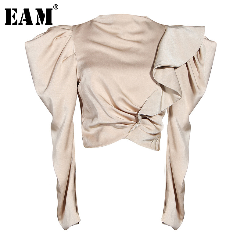 [EAM] Women Red Ruffles Split Joint Blouse New Stand Collar Long Sleeve Loose Fit Shirt Fashion Tide Spring Autumn 2020 1M883
