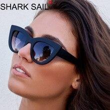 SHARK SAIL Cat Eye Women Sunglasses Tinted Color Lens Men Vintage Shaped Sun Glasses Female Eyewear Blue Brand Design