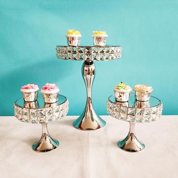 3 szt Złoty lub srebrny kolor kwadratowy diamentowy kryształowy stojak na tort weselny metalowe ozdoby do ciastek tanie i dobre opinie MYPOAYHODO Stojaki Ce ue Ciasto narzędzia Ekologiczne