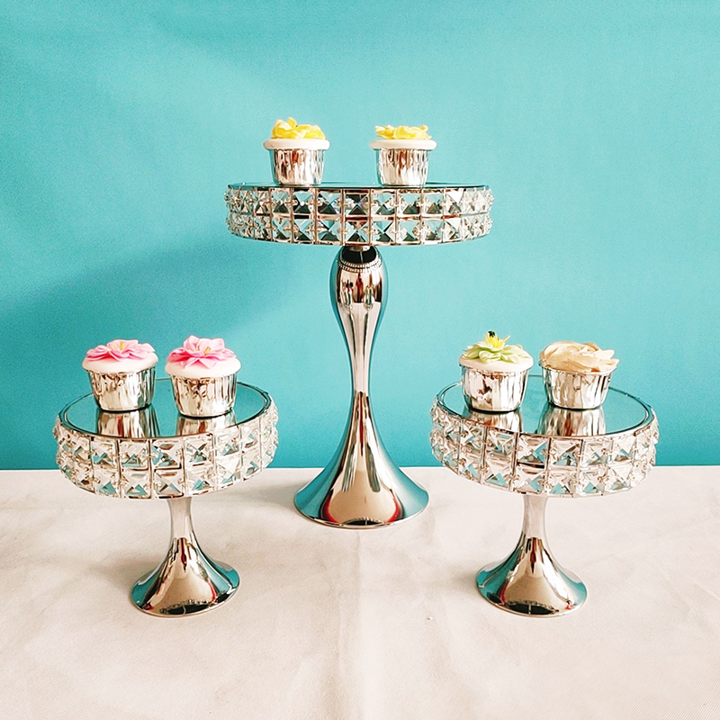 3pcs gold or silver color Square diamond crystal wedding Cake Stand Metal Cupcake decorations