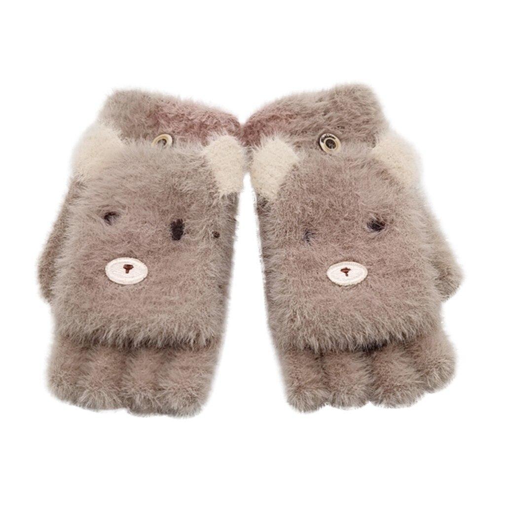 Детские зимние теплые вязаные варежки без пальцев, детские перчатки, детские перчатки для мальчиков и девочек с рисунком - Цвет: Коричневый