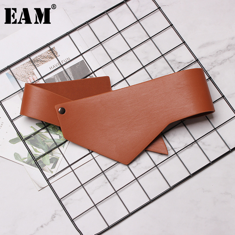 [EAM] 2020 New Spring Summer Pu Leather Buckle Irregular Split Joint All-match Long Belt Women All-match Fashion Tide JK512