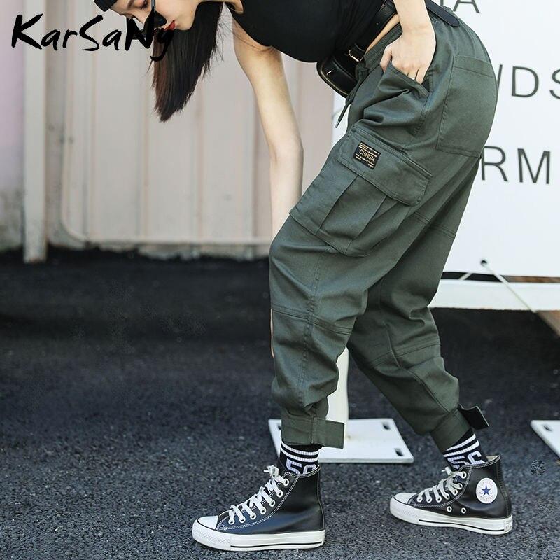 KarSaNy Cargo Hosen Frauen Hohe Taille Elastische Gerade Frauen Jogginghose Mit Taschen Pantalon Cargo Femme Grande Taille Hosen