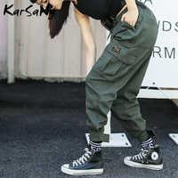 KarSaNy Cargo Pantalon femmes Taille haute élastique droit femmes pantalons de survêtement avec poches Pantalon Cargo Femme Grande Taille Pantalon