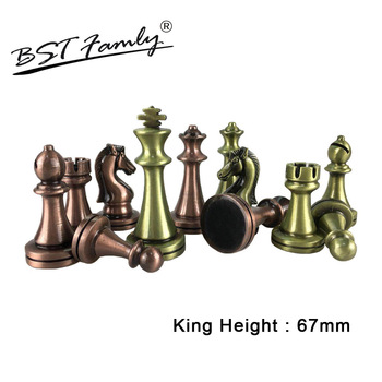 BSTFAMLY Chess Set Kirsite Electroplating Technology Chess Piece High Grade King Height 67mm Chess Game Bronze Chess Piece IA3 фото