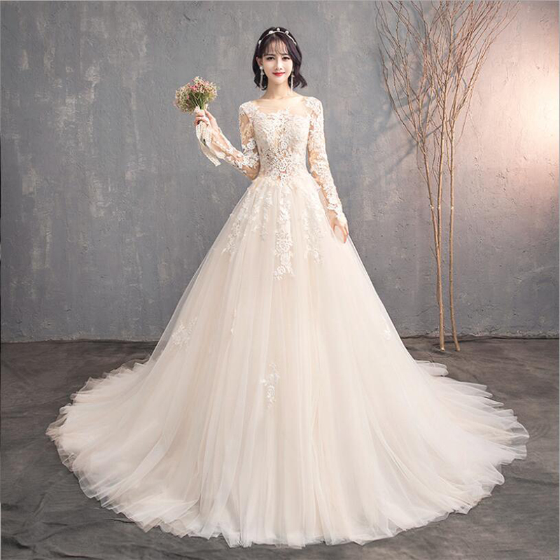 2020 New Embroidery Champagne Lace Fashion Wedding Dress With Long Sleeves O Neck Long Train Plus Sizes Women Bridal Gowns